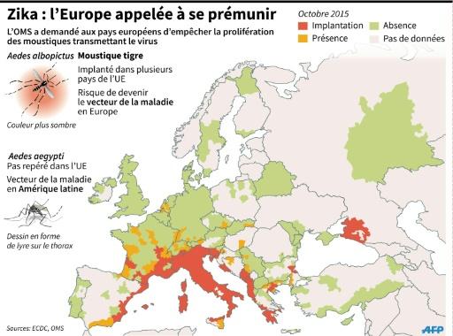 carte europe zika